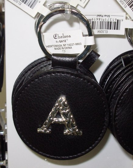 CHELSEA INITIAL A LEATHER KEY RING BLACK WITH SILVER PLATED LETTER INITIALS AND A MIRROR NEW GANZ