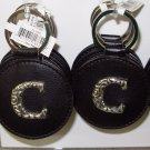 CHELSEA INITIAL C LEATHER KEY RING BLACK WITH SILVER PLATED LETTER INITIALS AND A MIRROR NEW GANZ