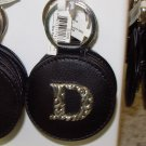 CHELSEA INITIAL D LEATHER KEY RING BLACK WITH SILVER PLATED LETTER INITIALS AND A MIRROR NEW GANZ