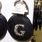 CHELSEA INITIAL G LEATHER KEY RING BLACK WITH SILVER PLATED LETTER INITIALS AND A MIRROR NEW GANZ