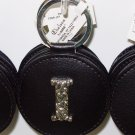 CHELSEA INITIAL I LEATHER KEY RING BLACK WITH SILVER PLATED LETTER INITIALS AND A MIRROR NEW GANZ