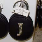 CHELSEA INITIAL J LEATHER KEY RING BLACK WITH SILVER PLATED LETTER INITIALS AND A MIRROR NEW GANZ