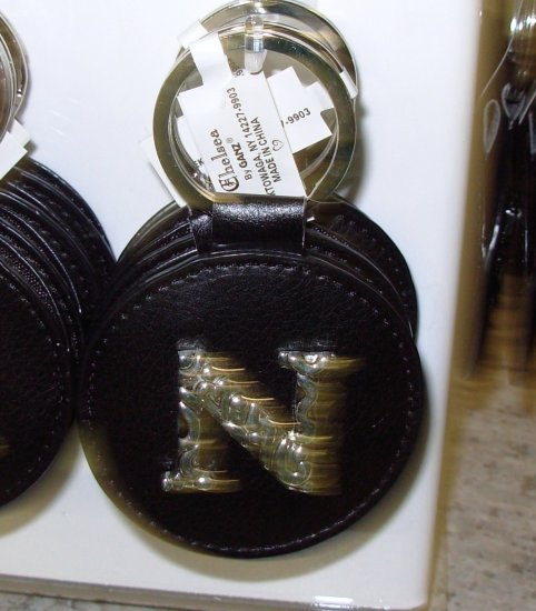 CHELSEA INITIAL N LEATHER KEY RING BLACK WITH SILVER PLATED LETTER INITIALS AND A MIRROR NEW GANZ