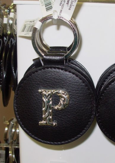 CHELSEA INITIAL P LEATHER KEY RING BLACK WITH SILVER PLATED LETTER INITIALS AND A MIRROR NEW GANZ