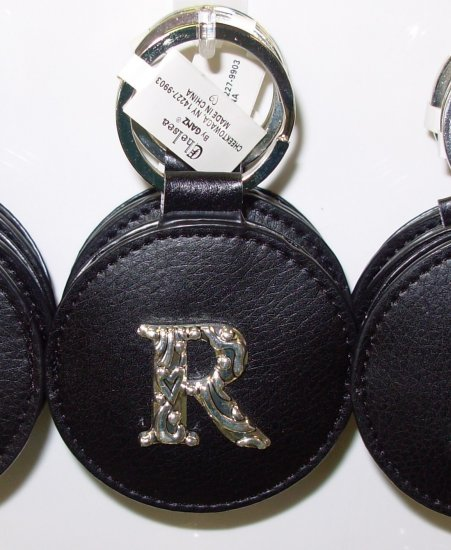 CHELSEA INITIAL R LEATHER KEY RING BLACK WITH SILVER PLATED LETTER INITIALS AND A MIRROR NEW GANZ