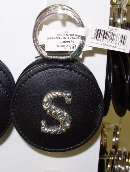 CHELSEA INITIAL S LEATHER KEY RING BLACK WITH SILVER PLATED LETTER INITIALS AND A MIRROR NEW GANZ
