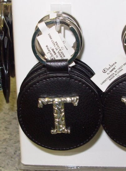 CHELSEA INITIAL T LEATHER KEY RING BLACK WITH SILVER PLATED LETTER INITIALS AND A MIRROR NEW GANZ