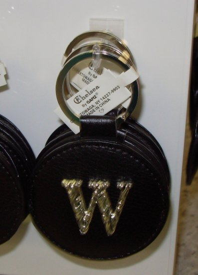 CHELSEA INITIAL W LEATHER KEY RING BLACK WITH SILVER PLATED LETTER INITIALS AND A MIRROR NEW GANZ
