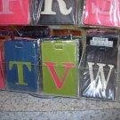 INITIAL LUGGAGE TAGS NEW GANZ LETTER V IN GREEN WITH A PINK LETTER VINYL