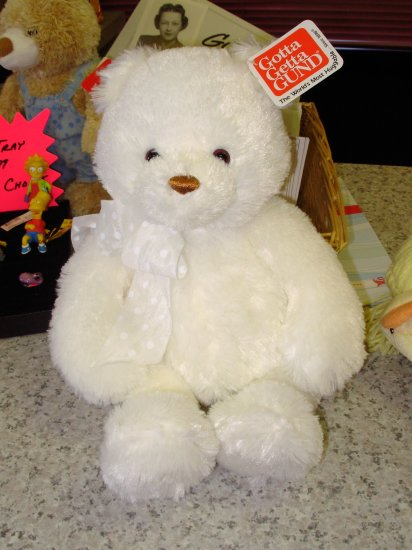 NEW BRIGHTON PLUSH STUFFED BEAR TEDDYBEAR GUND WHITE 15 INCH