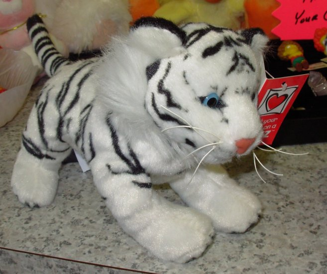 WHITE TIGER PLUSH STUFFED ANIMAL WILD CATS NEW GANZ TOY COLLECTION