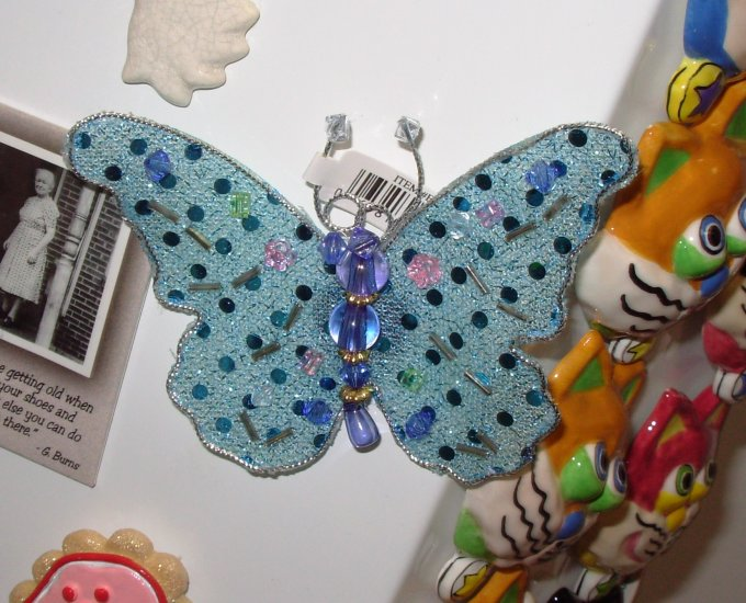 MAGNET AQUA BUTTERFLY SEQUINS AND BEADS ON NET NEW GANZ HOME DECOR KITCHEN DECOR