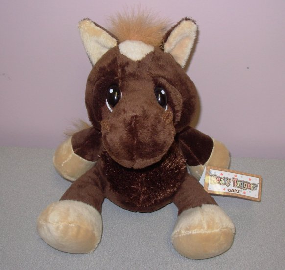 LITTLE BROWN HORSE HEART TUGGER BIG SAD EYES STUFFED PLUSH ANIMAL GANZ NEW