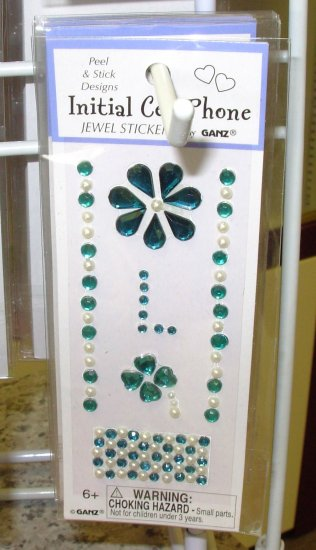 INITIAL CELL PHONE JEWEL STICKERS PEEL AND STICK LETTER L TURQUOISE GREEN AND WHITE PEARL CRYSTALS