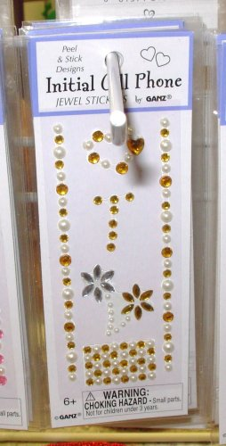 INITIAL CELL PHONE JEWEL STICKERS BY GANZ PEEL AND STICK NEW LETTER T GOLD AND WHITE  CRYSTALS