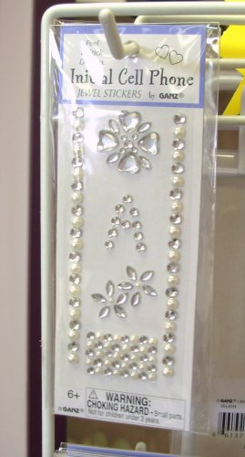 INITIAL JEWEL STICKERS BY GANZ PEEL AND STICK NEW LETTER A WHITE PEARL AND CLEAR CRYSTALS