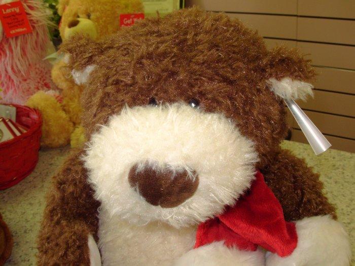 BRAM BROWN AND CREAM CHRISTMAS PLUSH STUFFED TEDDYBEAR NEW GANZ ANIMAL NEW WITH TAGS
