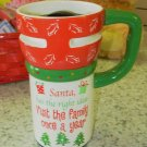 EXPRESS ITS TRAVEL MUG SANTA HAS THE RIGHT IDEA .. XMAS CERAMIC COFFEE MUG GANZ NEW HOLIDAY MUG