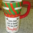 EXPRESS ITS TRAVEL MUG SAVE TIME JUST GO.. XMAS CERAMIC COFFEE MUG GANZ NEW HOLIDAY MUG