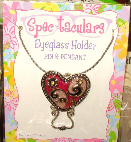 ENAMELED HEART EYEGLASS HOLDER USE AS PIN OR PENDANT SPECTACULARS GANZ SILVER AND CRYSTAL