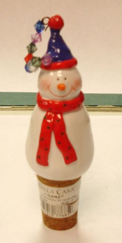 SNOWMAN WINE BOTTLE CORK REPLACEMENT CERAMIC AND CORK NEW GANZ HOLIDAY HOSTESS GIFT CHRISTMAS