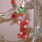 CHRISTMAS ORNAMENT LETTER I ACRYLIC ON RED GAUZE RIBBON LOOKS LIKE CANDY NEW GANZ HOLIDAY DECOR