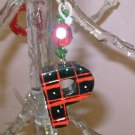 LETTER P CHRISTMAS ORNAMENT ACRYLIC ON RED GAUZE RIBBON LOOKS LIKE CANDY NEW GANZ HOLIDAY DECOR