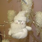 ALL IN WHITE SNOWMAN CHRISTMAS ORNAMENT BEANIE BOTTOM NEW GANZ HOLIDAY TREE HOME DECOR