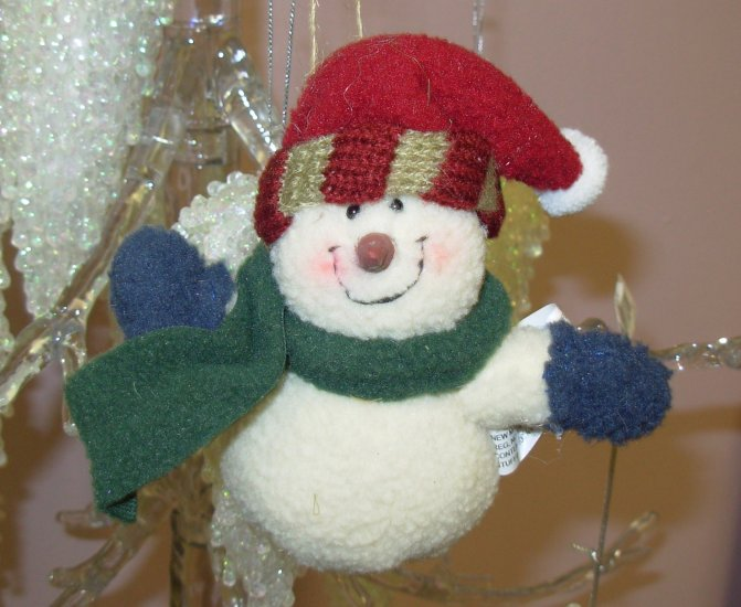FLEECE SNOWMAN CHRISTMAS ORNAMENT WEIGHTED BOTTOM NEW GANZ HOLIDAY TREE HOME DECOR