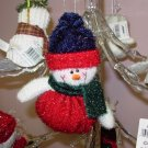 CHRISTMAS ORNAMENT SPARKLY SNOWMAN WITH A BEANIE BOTTOM NEW GANZ HOLIDAY TREE HOME DECOR