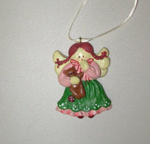 MINI RESIN ANGEL AND TEDDYBEAR CHRISTMAS ORNAMENT NEW GANZ HOLIDAY TREE HOME DECOR