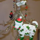 CHRISTMAS PUPPY DOG ORNAMENT WHITE WITH GREEN HOLLY RESIN NEW GANZ HOLIDAY HOME DECOR