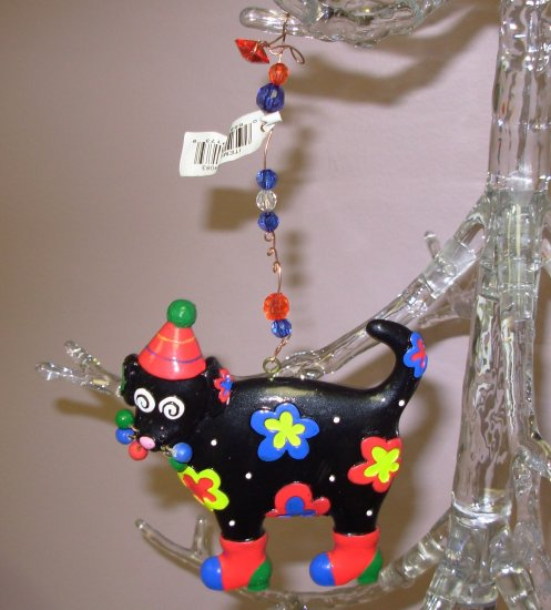 CHRISTMAS KITTY CAT ORNAMENT BLACK RESIN NEW GANZ HOLIDAY HOME DECOR
