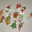 SET OF ONE DOZEN MINI CHRISTMAS ORNAMENTS NEW GANZ HOME HOLIDAY DECOR