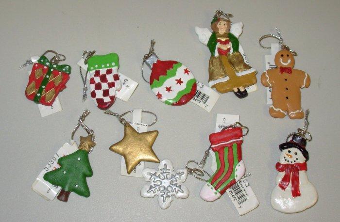 SET OF TEN MINI CHRISTMAS ORNAMENTS NEW GANZ HOME HOLIDAY DECOR