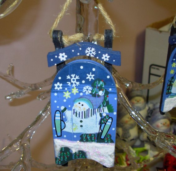 BLUE SLED AND SNOWMAN CHRISTMAS ORNAMENT HAND PAINTED HOLIDAY DECOR NEW GANZ