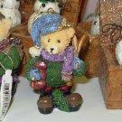 TEDDYBEAR WITH SKIS CHRISTMAS ORNAMENT NOSTALGIC LOOK NEW GANZ HOLIDAY DECOR