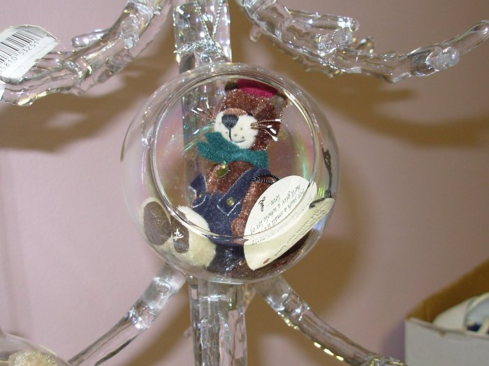 GLASS ENCASED KITTY CAT WHISKERS COTTAGE COLLECTION CHRISTMAS ORNAMENT NEW GANZ HOME HOLIDAY DECOR