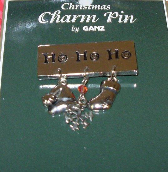 CHRISTMAS CHARM PIN HOLIDAY JEWELRY NEW GANZ SAYS HO HO HO