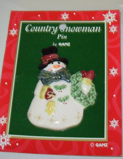 PORCELAIN SNOWMAN PIN CHRISTMAS HOLIDAY JEWELRY NEW GANZ PIN