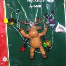 MERRY CHRIS MOOSE NECKLACE CHRISTMAS HOLIDAY JEWELRY NEW GANZ MOOSE AND CHRISTMAS LIGHTS