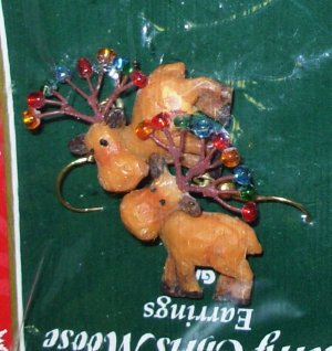 MERRY CHRIS MOOSE EARRINGS CHRISTMAS HOLIDAY JEWELRY NEW GANZ MOOSE AND CHRISTMAS LIGHTS