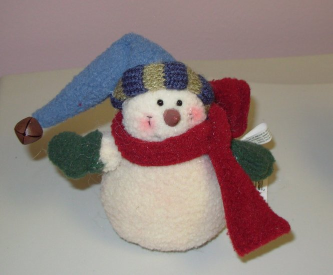 CHRISTMAS ORNAMENT FLEECE SNOWMAN WEIGHTED BOTTOM NEW GANZ HOLIDAY TREE HOME DECOR