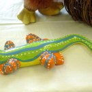 YELLOW BELLIED STRIPED AND POLKA DOT LIZARD CERAMIC HOME DECOR NEW GANZ