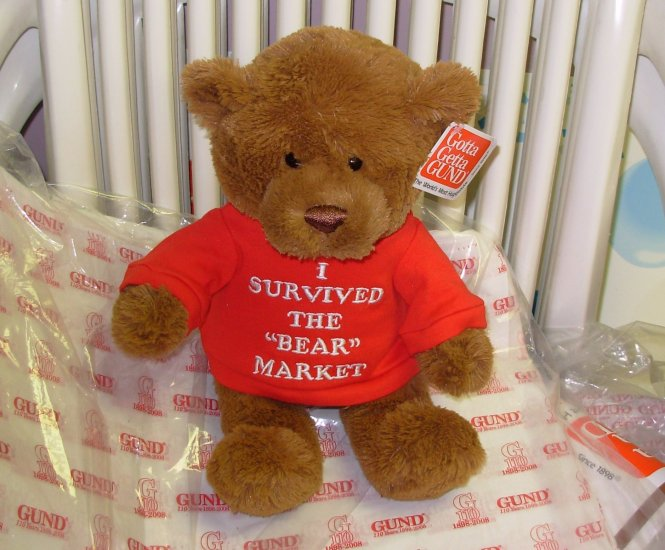 TEDDYBEAR WITH TSHIRT SAYS I SURVIVED THE BEAR MARKET PLUSH STUFFED ANIMAL BEAR NEW GUND