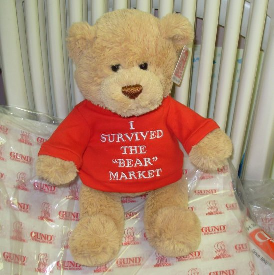 GUND TEDDY BEAR WITH TSHIRT SAYS I SURVIVED THE BEAR MARKET PLUSH STUFFED ANIMAL BEAR NEW