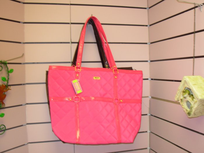 MAGGIE B CLOTH TOTE BAG OVER-SIZED HOT HOT PINK PURSE NEW GANZ