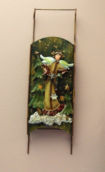 ANGEL CHRISTMAS HOLIDAY HOME DECOR SLED WALL HANGING NEW GANZ