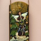 ANGEL AND WREATH CHRISTMAS HOLIDAY HOME DECOR SLED WALL HANGING NEW GANZ
