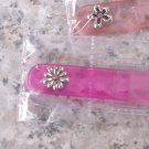 GLASS NAIL FILE FUCHIA COLORED WITH SILVER COLORED FLOWER AND PINK CRYSTAL IN CASE NEW GANZ